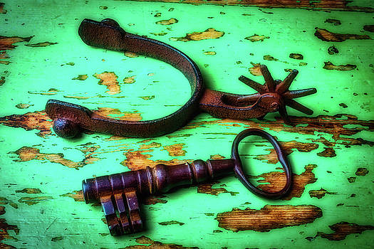 Old Spur And Skeleton Key by Garry Gay