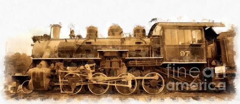 Edward Fielding - Old Steam Engine Locomotive Watercolor