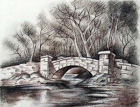Old Stone Bridge - Charcoal by Somnath Kundu