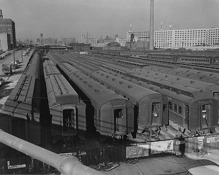 Chicago and North Western Historical Society - Old Suburban Cars at Erie Street Coach Yard - 1957