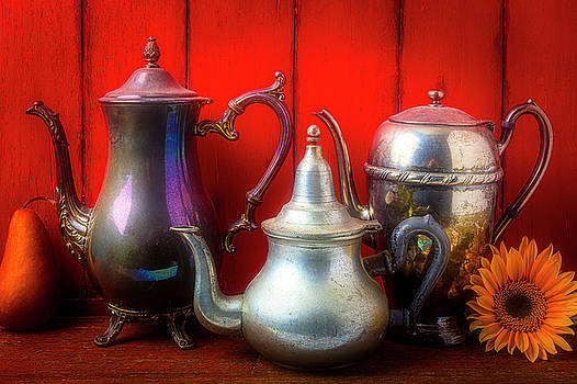 Old Tea Pots And Sunflower by Garry Gay