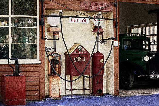 Old Time Gas Station by Digital Art Cafe