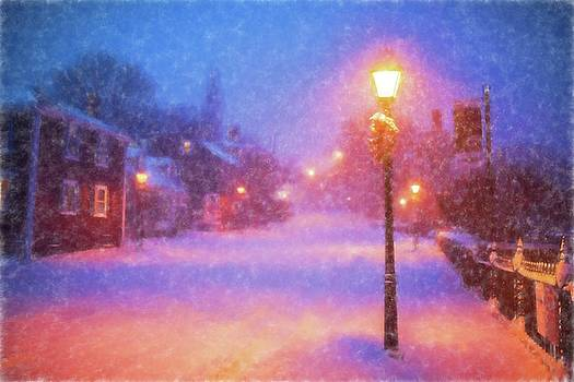 Toby McGuire - Old Town Marblehead Snowstorm Looking up at Abbot Hall Painterly