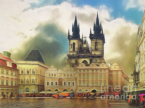 Old Town Square Prague in the rain by Leigh Kemp