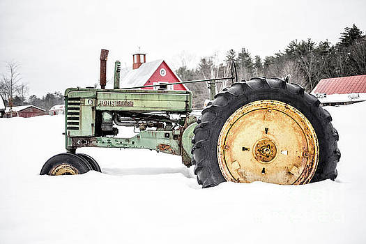Old Tractor in the Snow Quechee Vermont by Edward Fielding