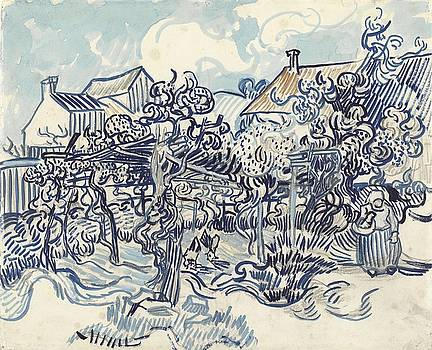 Old Vineyard with Peasant Woman Auvers sur Oise May 1890 Vincent van Gogh 1853  1890 by Artistic Panda
