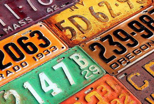 Old Vintage License Plates Number 1 by Design Turnpike