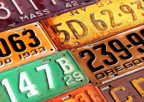 Old Vintage License Plates Number 3 by Design Turnpike