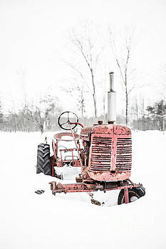 Old Vintage Red Tractor in the Snow Quechee Vermont by Edward Fielding