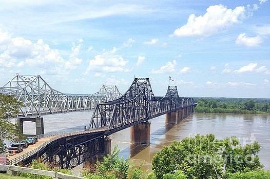 Old vs New Bridges over Mississippi by Janette Boyd