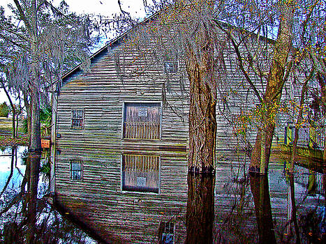Old Warehouse Reflection In Flood Waters Conway South Carolina by Joey OConnor