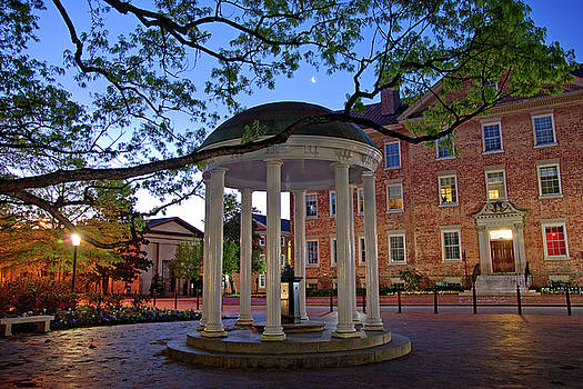 Old Well and Crescent Moon - UNC Chapel Hill by Matt Plyler