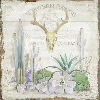 Old West Cactus Garden w Deer Skull n Succulents over Wood by Audrey Jeanne Roberts