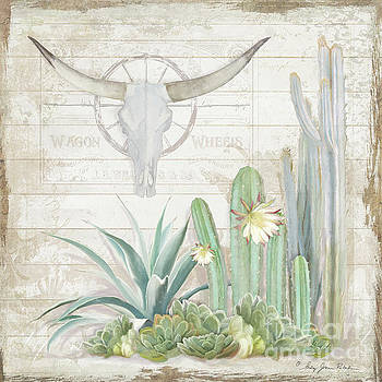 Old West Cactus Garden w Longhorn Cow Skull n Succulents over Wood by Audrey Jeanne Roberts