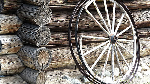 Old Wheel and Logs by Marcia Socolik