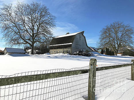 Old White Barn in the Snow by Randy Harris