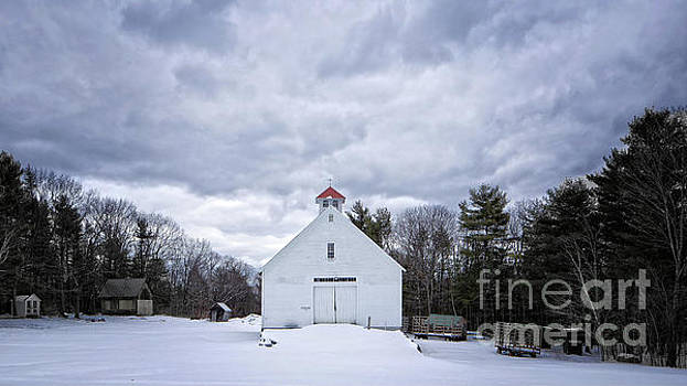 Old White Barn in Winter by Edward Fielding