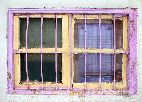 Old Window Painted Yellow and Pink by Yali Shi