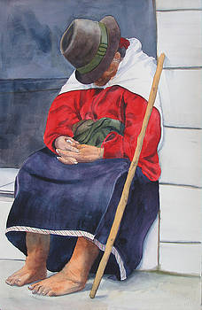 Old Woman Resting by Libby  Cagle