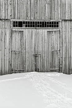 Old Wooden Barn Doors in the Snow by Edward Fielding