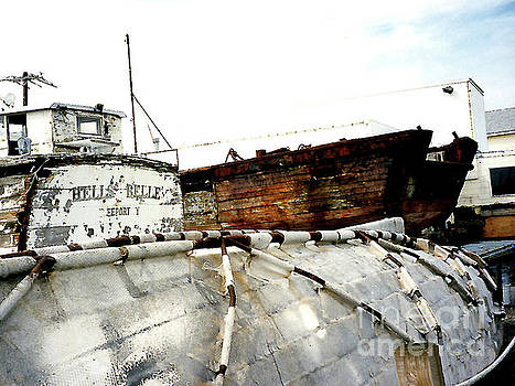 Old Workboats Drydocked in Gloucester MA  by Merton Allen