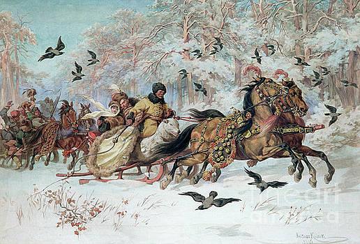 Juliusz Fortunat Kossak - Olenka and Kmicic in a Sleigh, 1885