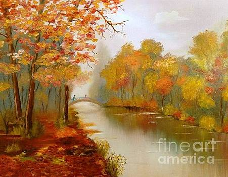 On the Autumn Bridge by Irina Davis