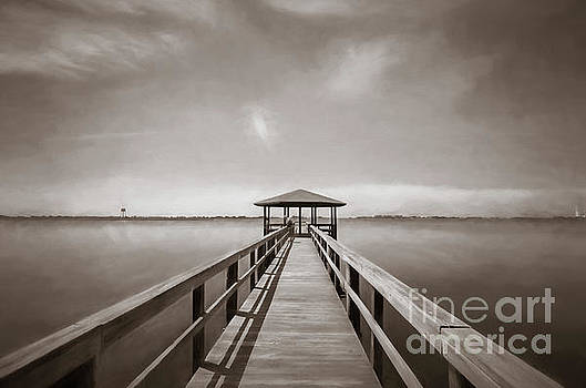 Kathleen K Parker - On the Pier _ Sepia Watercolor