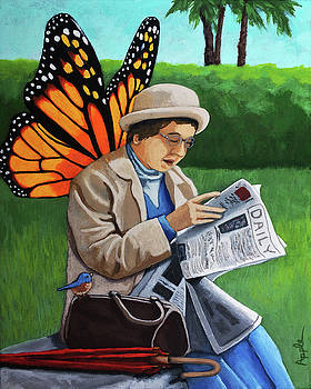 On Vacation -butterfly angel painting by Linda Apple