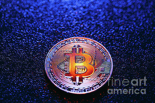 Michal Bednarek - One coin with bitcoin logo on a blue background