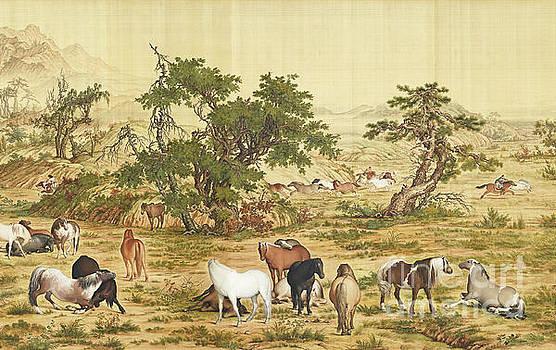 One Hundred Horses 4 by Giuseppe Castiglione