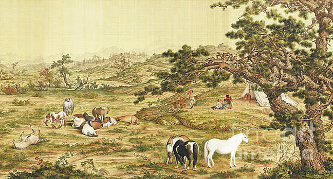 One Hundred Horses 5 by Giuseppe Castiglione