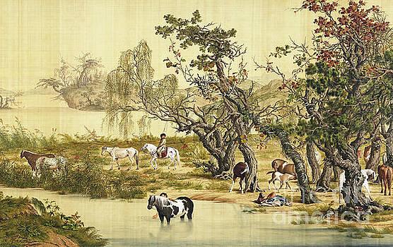 One Hundred Horses 2 by Giuseppe Castiglione