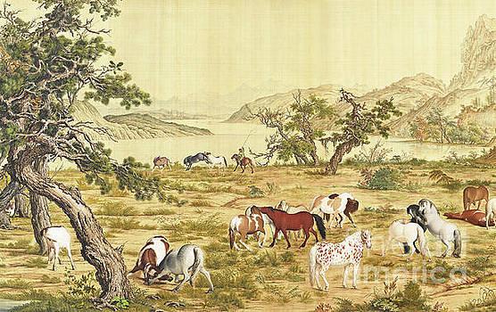 One Hundred Horses 3 by Giuseppe Castiglione