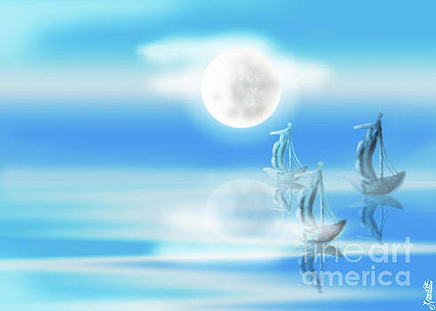 One Moon Light sea by Artist Nandika Dutt