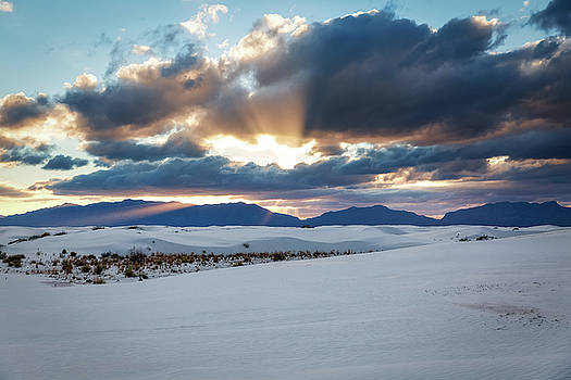 One More Moment - Sunburst Over White Sands New Mexico by Sean Ramsey