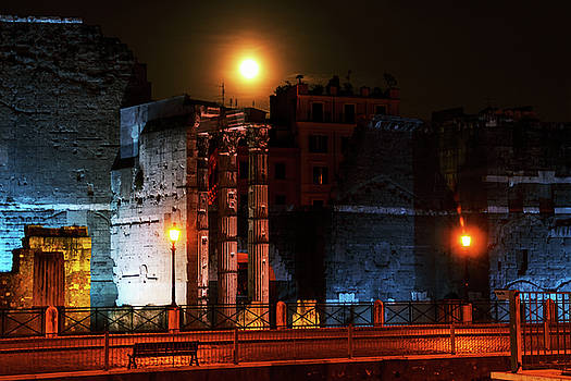 one of the corners of ancient Rome summer moonlit night by George Westermak