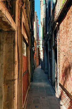 one of the many narrow streets of Venice on a Sunny summer day by George Westermak