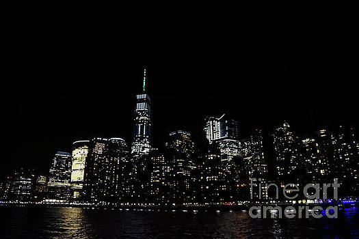 One World Trade Center, Battery Park City, Goldman Sachs At Night. by Tom Wurl