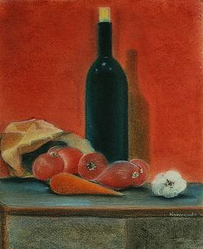 Onions carrot garlic and a bottle of Wine by Kostas Koutsoukanidis