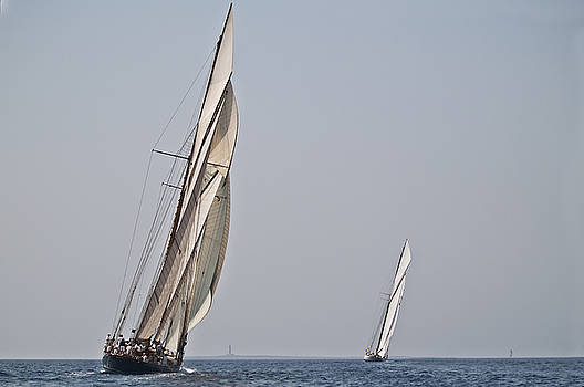Pedro Cardona Llambias - Open sea One mast vessels race arriving to Isla del Aire lighthouse