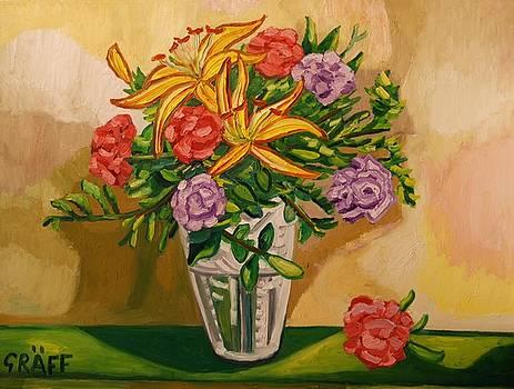 Opulenter Fruehlingsbote mit Lilien und Nelken by Matthias Laurenz Graeff