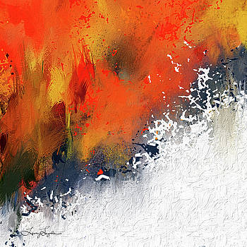 Splashes At Sunset - Orange Abstract art by Lourry Legarde