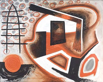 Orange and Black Abstraction by Paul Greco