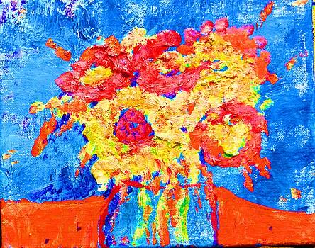 Orange and Blue Floral by Lynn Rogers