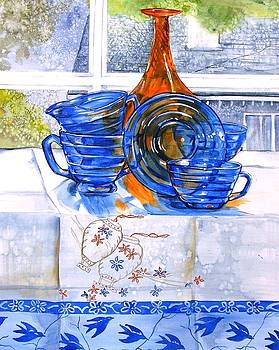 Orange and Blue Glass by Jane Loveall