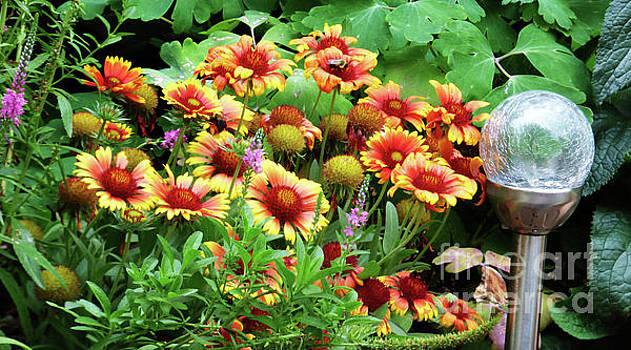 Orange and Yellow Flowers w/Bee by Leara Nicole Morris-Clark