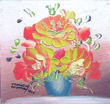 Orange and Yellow Roses by Monique Montney