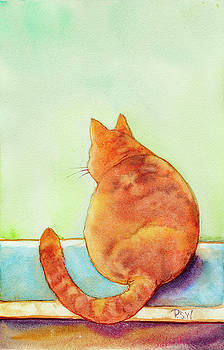 Orange Cat in the Window by Peggy Wilson