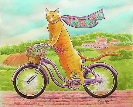 Orange Cat on Purple Bike by Rachel Armington